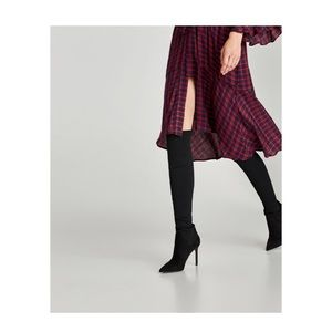 ZARA Sock-Style Over The Knee Boots